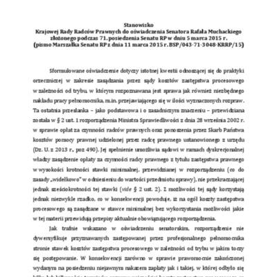 Stanowisko z 30 marca 2015 r. w odpowiedzi na oświadczenie senatora Muchackiego (koszty zastępstwa).pdf