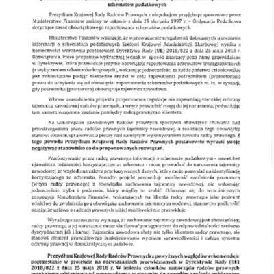 Stanowisko Prezydium KRRP z 2018.09.07 w przedmiocie rozwiązań nakładających na radców prawnych obowiązek raportowania schematów podatkowych.pdf
