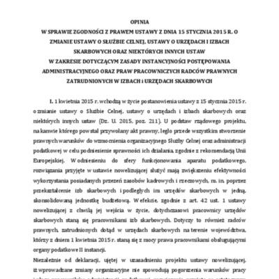 Opinia z dnia 7 marca 2015 r.  do ustawy zmieniającej ustawę o służbie celnej usawę o urzędach i izbach skarbowych i niektórych innych ustaw.pdf