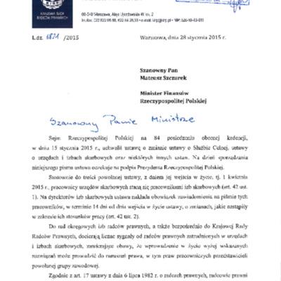 Pismo do MF - Styczeń 2015 - radcowie prawni w skarbowości.pdf